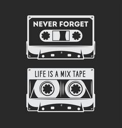 retro audio cassette t-shirt design vector image vector image