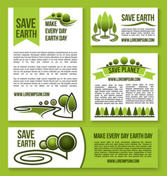 save earth and planet nature ecology design vector image vector image