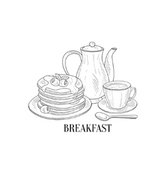 American Breakfast With Pancakes And Coffee Hand vector image vector image