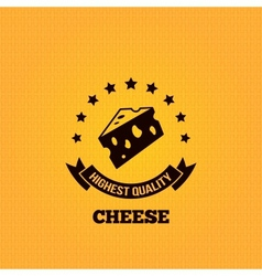 cheese vintage label design background vector image vector image