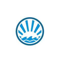 Circle wave ocean logo vector