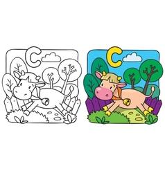 Little cow or calf coloring book Alphabet C vector image