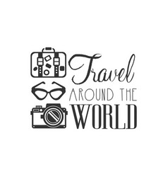 travel around the world logo with traveler vector image