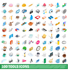 100 tools icons set isometric 3d style vector image