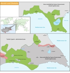 Akrotiri and Dhekelia map vector image vector image