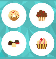 flat cake set of muffin sweetmeat doughnut and vector image vector image