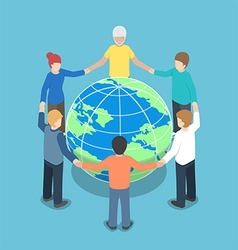 Isometric people around the world holding hands vector image