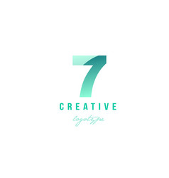 7 seven green pastel gradient number numeral vector