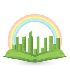 A book with a rainbow over city vector