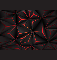abstract black polygon red light futuirstic techno vector image