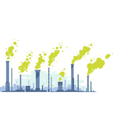 Air pollution from industrial pipes vector