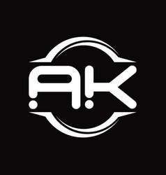 Ak logo monogram with circle rounded slice shape vector
