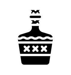 Alcoholic drink bottle glyph icon vector