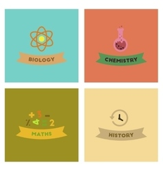 assembly flat icons history math biology chemistry vector image