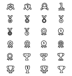 Award and Medal Line Icons 5 vector image