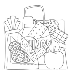 Bag with purchases icons set outline style vector