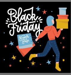 Black friday flyer poster template with happy vector