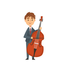 Boy cello player talented young cellist character vector