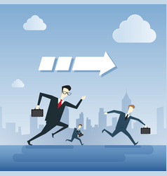 business people group run team leader under arrow vector image