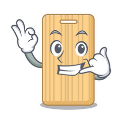 Call me wooden cutting board mascot cartoon vector