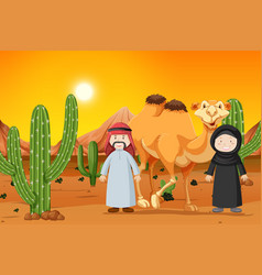 camel and two muslim people vector image