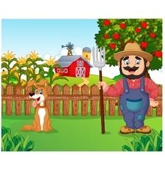 Cartoon farmer holding a rake with dog vector