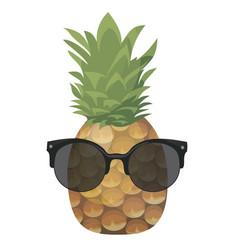 cartoon pineapple in glasses colorful print vector image