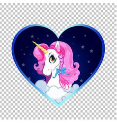 cartoon white unicorn head portrait inside of vector image