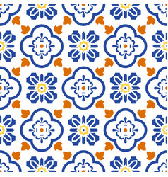 Ceramic blue and white mediterranean seamless tile vector
