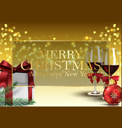 christmas background with gifts wine glass vector image