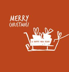 christmas card sleidge gift box flat white red vector image