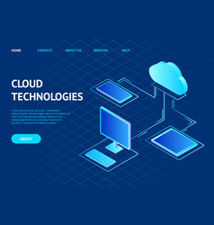 cloud computing concept landing web page template vector image