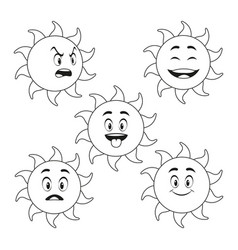 Collection funny sun cartoon outline vector