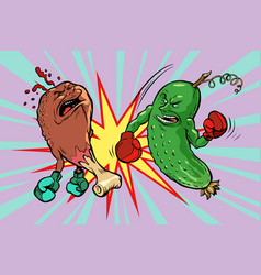 Cucumber beats fast food fried chicken leg vector