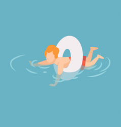 Cute boy swimming with inflatable lifebuoy kid vector