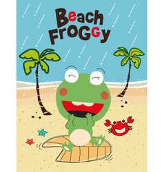 Cute frog in the raining beach vector