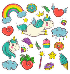 Cute set of magical elements with unicorns vector