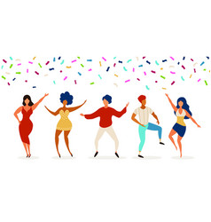 dancers group young people dancing in club vector image