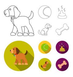 Dog sitting dog standing tennis ball feces dog vector