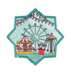 Doodle mechanical ride carnival games inside star vector