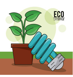 eco lifestyle bulb light pot plant energy symbol vector image