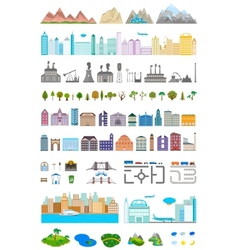 Elements of the modern city and village vector image