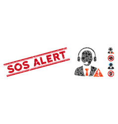 Emergency service mosaic and scratched sos alert vector