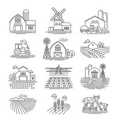 Farm and farming fields linear icons vector