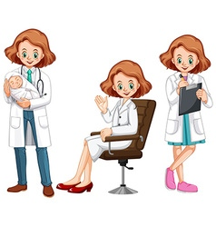 Female doctor in different actions vector