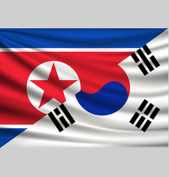 flag of north korea and south korea friendship vector image