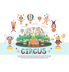 flat circus carnival round composition vector image