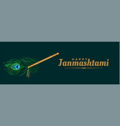 Flute and peacock feather for janmashtami vector