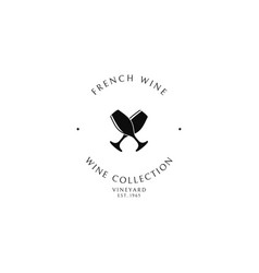 french wine logo template vector image