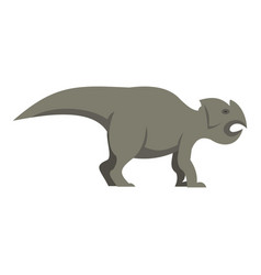 Grey ceratopsians dinosaur icon isolated vector